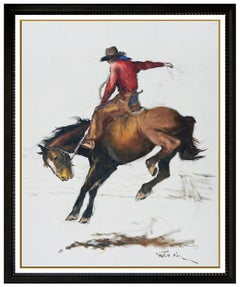 Pal Fried Original Oil Painting On Canvas Signed Western Horse Cowboy Large Art