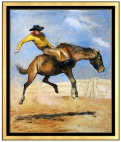 Pal Fried Original Oil Painting On Canvas Western Cowboy Horse Rodeo Signed Art