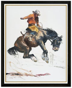 Pal Fried Original Oil Painting On Large Canvas Signed Western Horse Cowboy Art