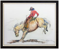 Pal Fried Original Painting Large Oil On Canvas Signed Western Cowboy Horse Art