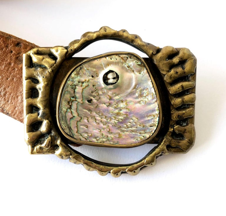 Pal Kepenyes Bronze Abalone Shell Belt Buckle on Hand Tooled Vintage Belt Strap In Good Condition For Sale In Los Angeles, CA