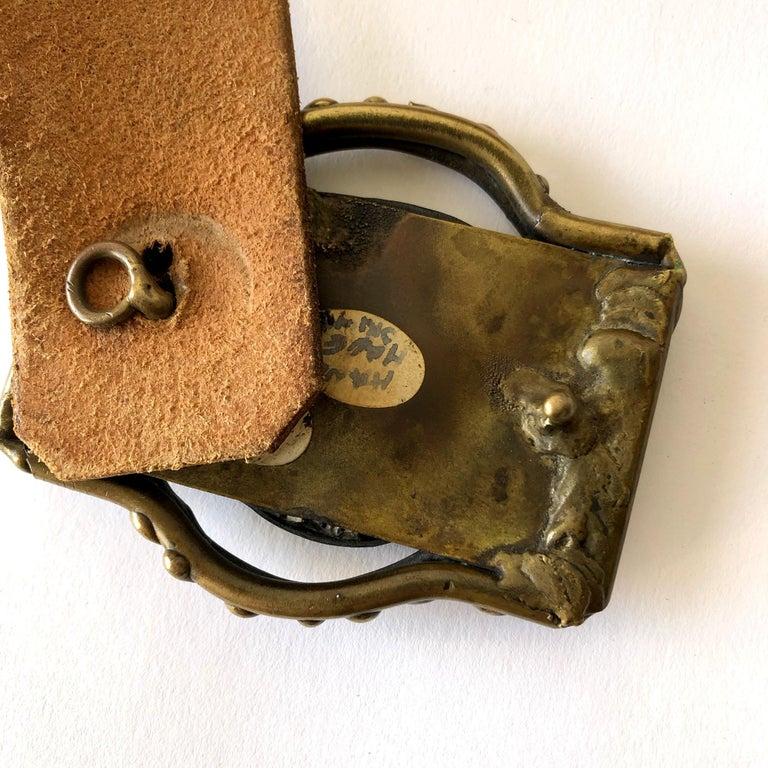 Pal Kepenyes Bronze Abalone Shell Belt Buckle on Hand Tooled Vintage Belt Strap For Sale 1