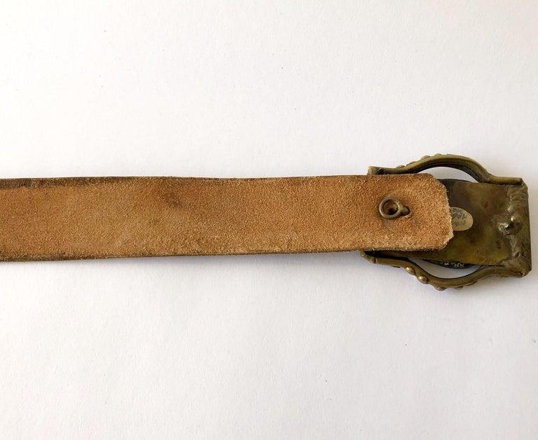 Pal Kepenyes Bronze Abalone Shell Belt Buckle on Hand Tooled Vintage Belt Strap For Sale 2