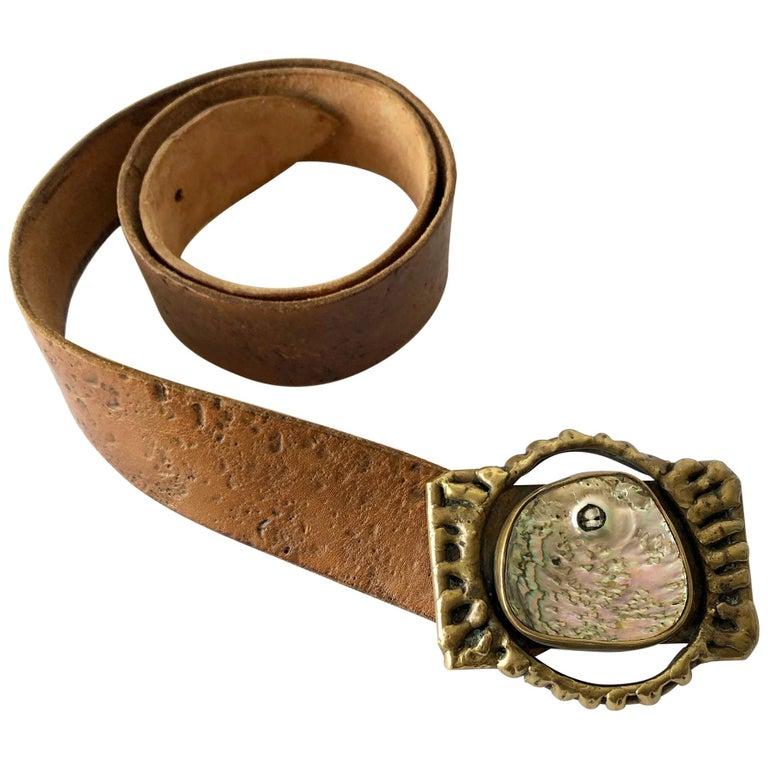 Pal Kepenyes Bronze Abalone Shell Belt Buckle on Hand Tooled Vintage Belt Strap For Sale