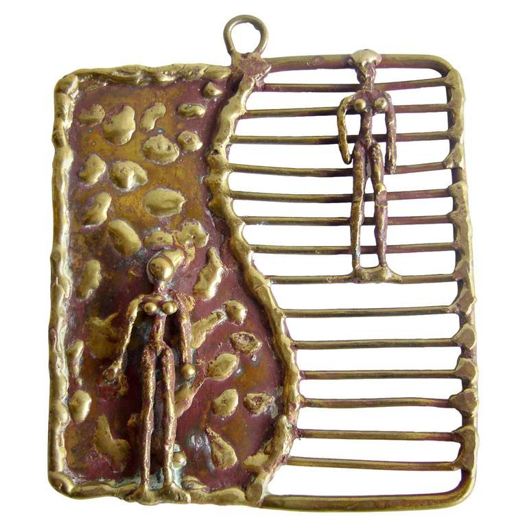 Pal Kepenyes Mexican Modernist Bronze Figural Pendant Necklace In Good Condition In Los Angeles, CA