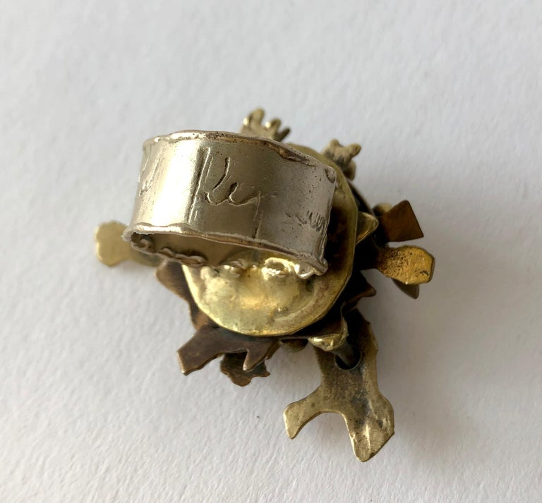 Artisan Pal Kepenyes Bronze Mexican Modernist Milagros Ring For Sale