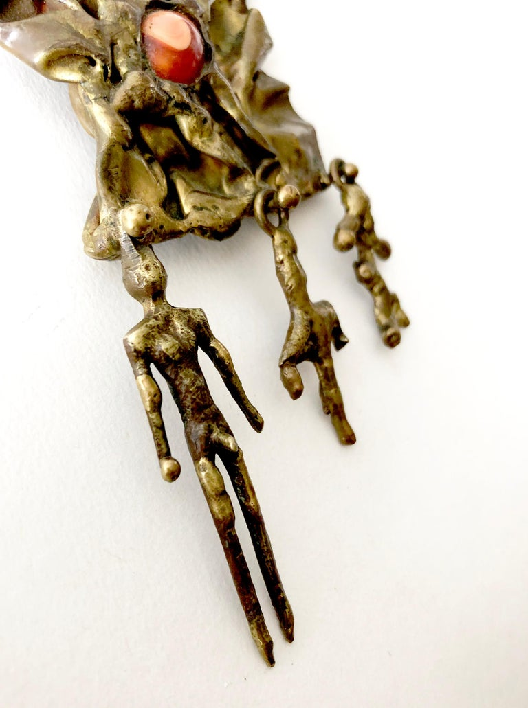Pal Kepenyes Bronze Natural Gemstone Mexican Modernist Figural Necklace In Good Condition For Sale In Los Angeles, CA