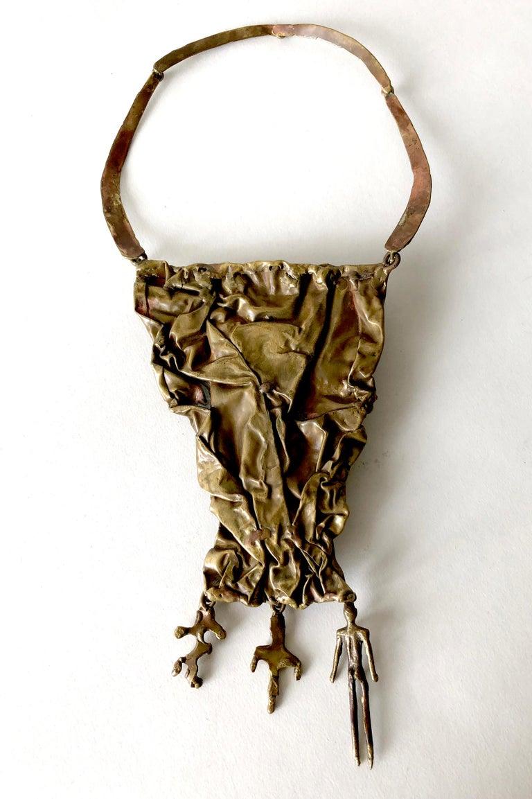 Pal Kepenyes Bronze Natural Gemstone Mexican Modernist Figural Necklace For Sale 1