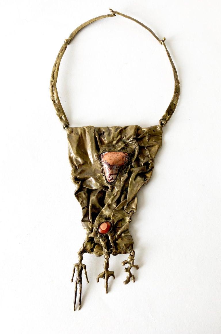 Pal Kepenyes Bronze Natural Gemstone Mexican Modernist Figural Necklace For Sale 2