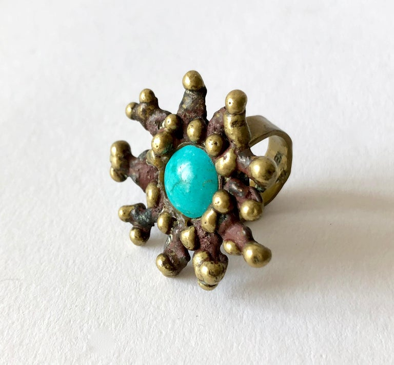 Pal Kepenyes bronze ring set with a turquoise stone, circa 1970's.  Ring is a finger size 5 and is signed Pal Kepenyes on the shank.  In very good vintage condition.