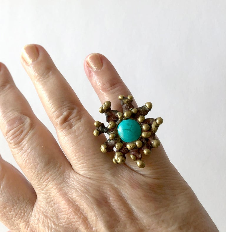 Pal Kepenyes Bronze Turquoise Mexican Modernist Ring In Good Condition For Sale In Los Angeles, CA