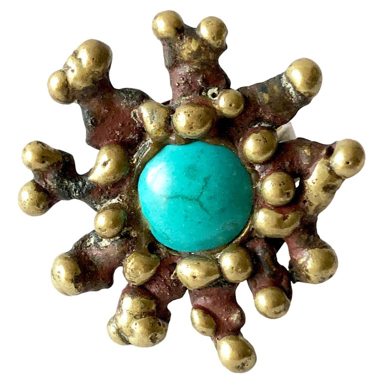 Pal Kepenyes Bronze Turquoise Mexican Modernist Ring For Sale