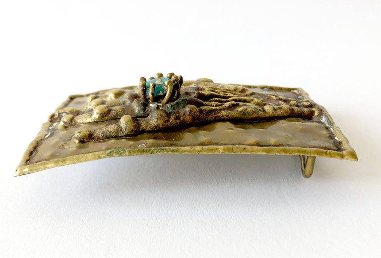Modernist Pal Kepenyes Bronze Turquoise Mexican Surrealist Curiosity Hand Belt Buckle For Sale
