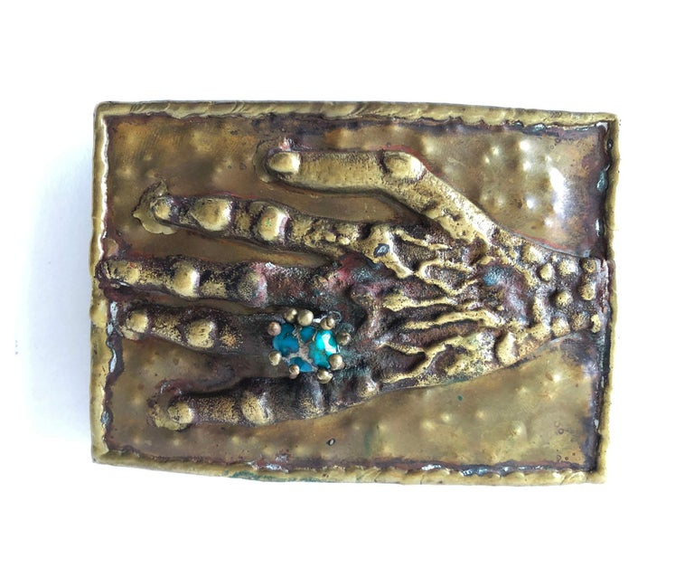 Pal Kepenyes Bronze Turquoise Mexican Surrealist Curiosity Hand Belt Buckle In Good Condition For Sale In Los Angeles, CA