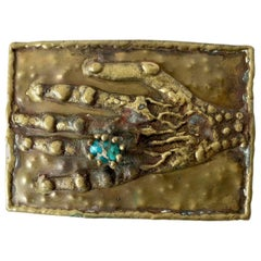 Pal Kepenyes Bronze Turquoise Mexican Surrealist Curiosity Hand Belt Buckle