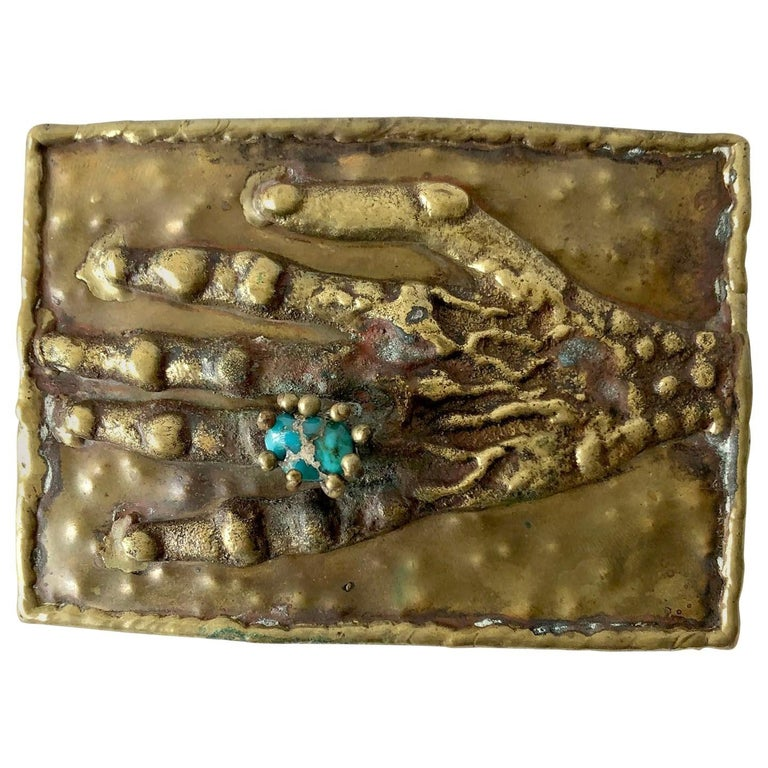 Pal Kepenyes Bronze Turquoise Mexican Surrealist Curiosity Hand Belt Buckle For Sale