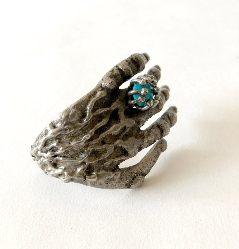 Artisan Pal Kepenyes Bronze Turquoise Mexican Surrealist Hand Cuff Bracelet For Sale