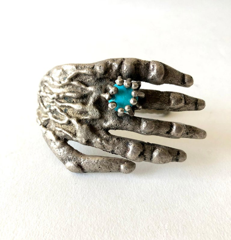 Women's Pal Kepenyes Bronze Turquoise Mexican Surrealist Hand Cuff Bracelet For Sale