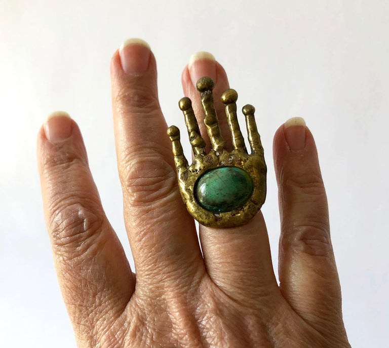 Women's Pal Kepenyes Bronze Turquoise Mexican Surrealist Hand Ring For Sale