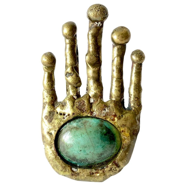 Pal Kepenyes Bronze Turquoise Mexican Surrealist Hand Ring For Sale