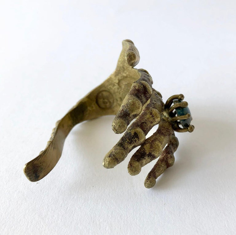 Modernist Pal Kepenyes Bronze Turquoise Mexican Surrealist Hand with Ring Bracelet For Sale