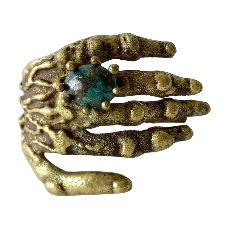 Pal Kepenyes Bronze Turquoise Mexican Surrealist Hand with Ring Bracelet For Sale