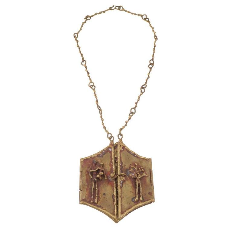 Pal Kepenyes Brutalist Brass Locket Necklace For Sale