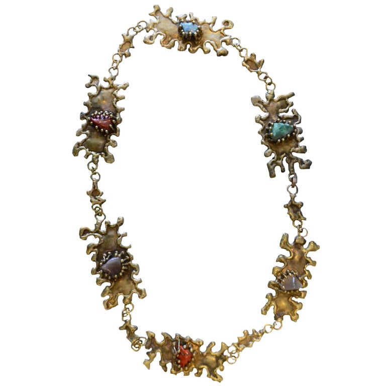 Pal Kepenyes Brutalist Bronze Necklace with Semiprecious Stones For Sale