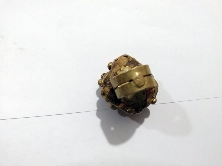 Late 20th Century Pal Kepenyes Brutalist Bronze Ring with Pyrite For Sale