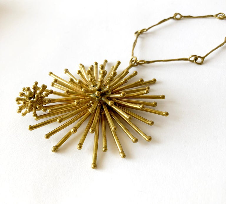 Artisan Pal Kepenyes Gold-Plated Bronze Kinetic Starburst Mexican Modernist Necklace For Sale