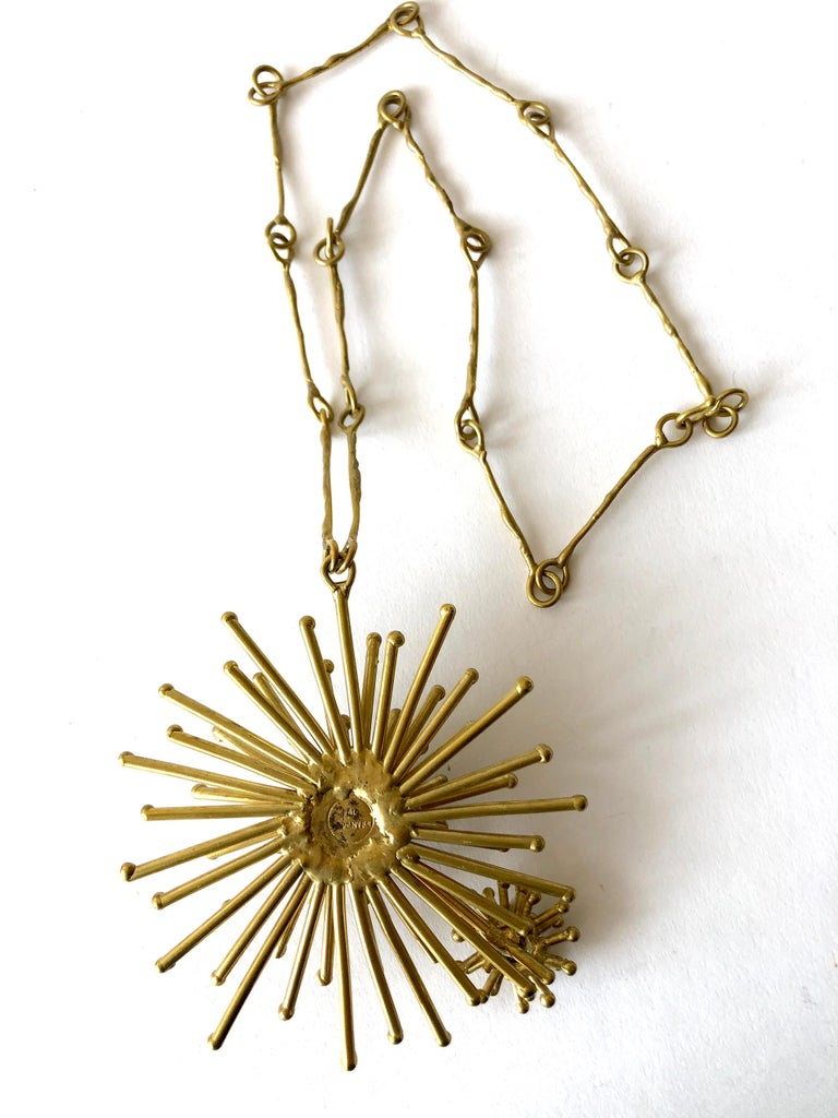 Pal Kepenyes Gold-Plated Bronze Kinetic Starburst Mexican Modernist Necklace In Good Condition For Sale In Los Angeles, CA