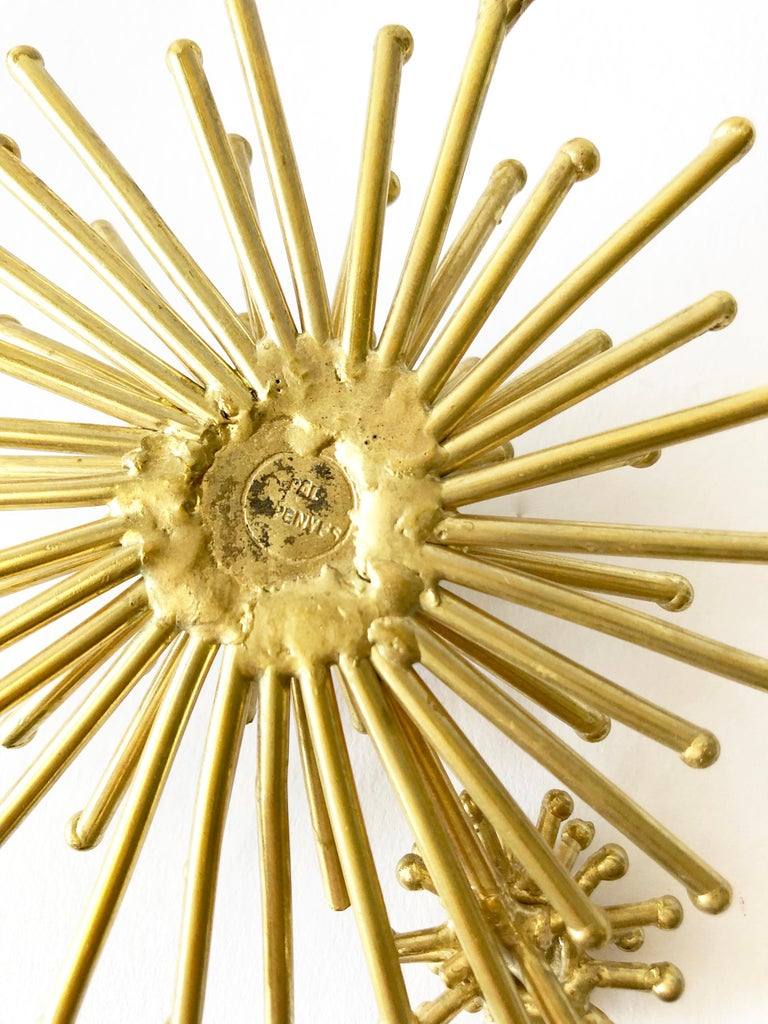 Women's Pal Kepenyes Gold-Plated Bronze Kinetic Starburst Mexican Modernist Necklace For Sale