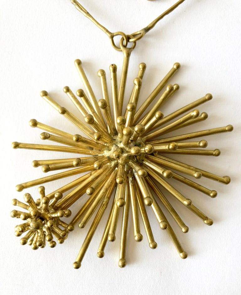 Pal Kepenyes Gold-Plated Bronze Kinetic Starburst Mexican Modernist Necklace For Sale 1