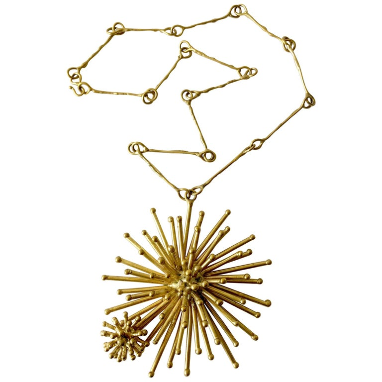 Pal Kepenyes Gold-Plated Bronze Kinetic Starburst Mexican Modernist Necklace For Sale