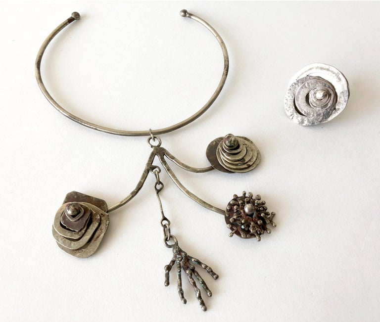 Artisan Pal Kepenyes Silver Plate Kinetic Modern Surrealist Necklace For Sale