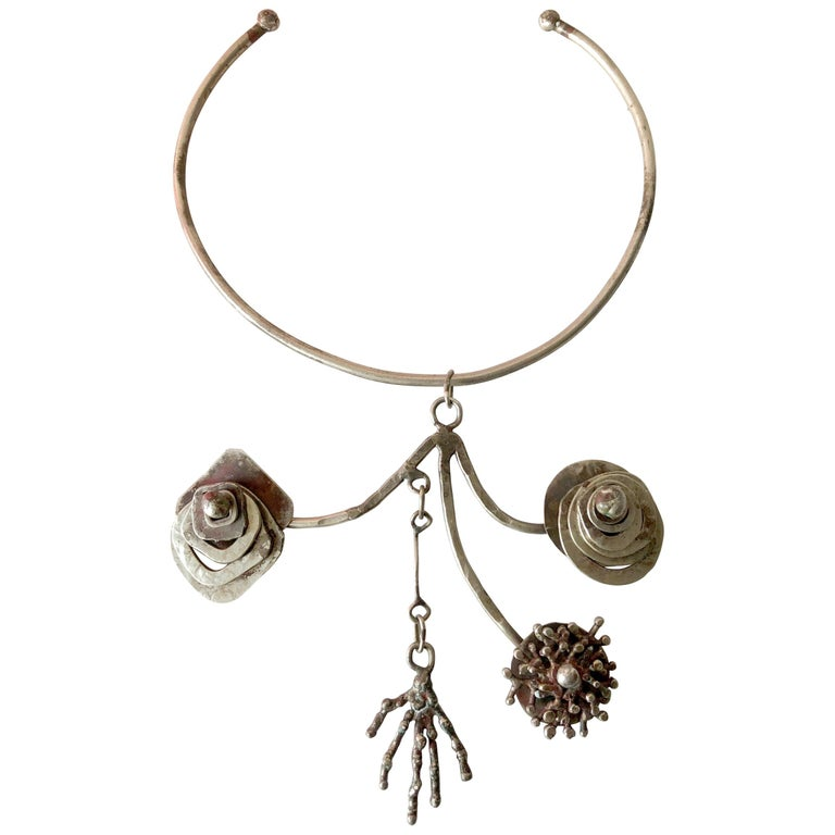 Pal Kepenyes Silver Plate Kinetic Modern Surrealist Necklace For Sale