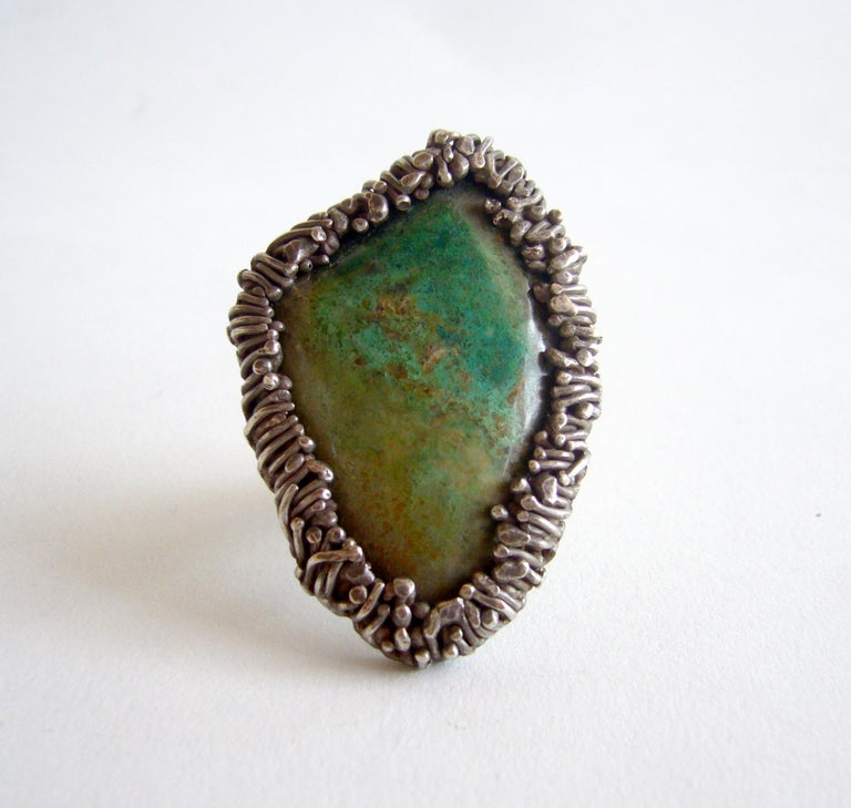 Women's Pal Kepenyes Turquoise Silver Modernist Ring For Sale
