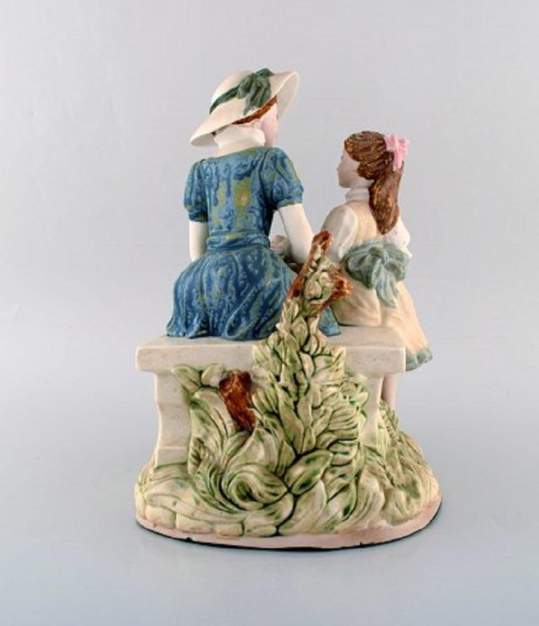 Late 20th Century PAL, Spain, Large Sculpture in Glazed Ceramics, Mother with Daughter, 1980s For Sale