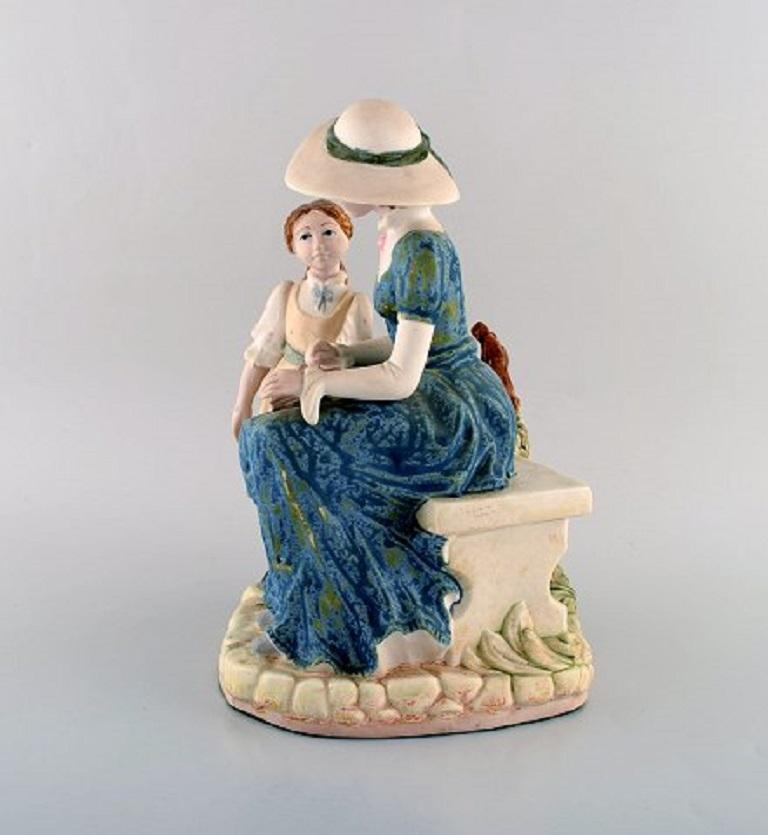 PAL, Spain, Large Sculpture in Glazed Ceramics, Mother with Daughter, 1980s For Sale 1