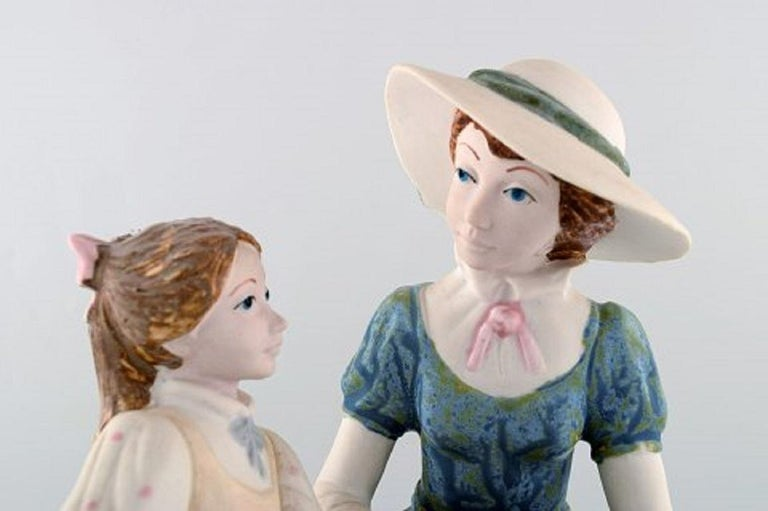 PAL, Spain, Large Sculpture in Glazed Ceramics, Mother with Daughter, 1980s For Sale 2