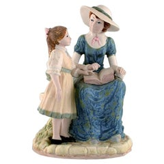 PAL, Spain, Large Sculpture in Glazed Ceramics, Mother with Daughter, 1980s