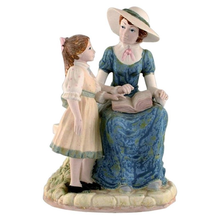 PAL, Spain, Large Sculpture in Glazed Ceramics, Mother with Daughter, 1980s For Sale