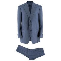 Pal Zileri Blue Pinstripe Single Breasted Suit - Size 54 IT/FR