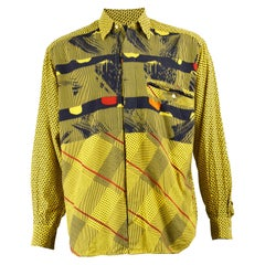 Pal Zileri Men's Vintage Yellow Cotton & Modal Bold Printed Shirt, 1980s