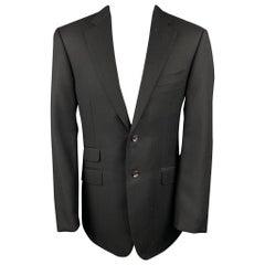 PAL ZILERI Size 40 Long Black Wool Notch Lapel Sport Coat