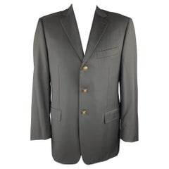 PAL ZILERI Size 40 Regular Black Wool Notch Lapel Sport Coat