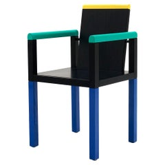 Palace Chair by George Sowden for Memphis, Milano, Blue, Green, Yellow, Black