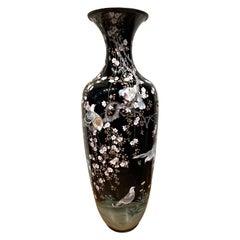Palace Size 19th Century Japanese Cloisonne Narrow-Neck Vase
