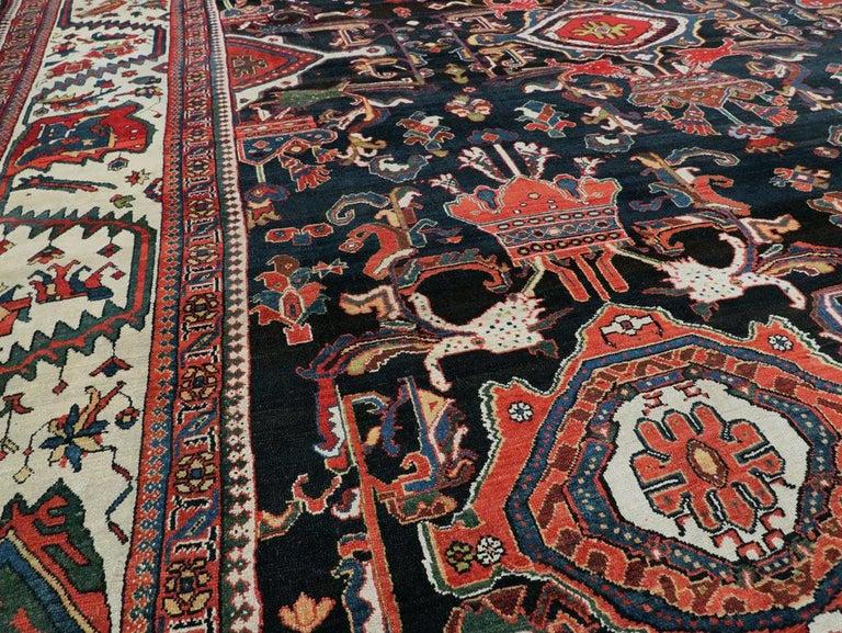Black Forest Palace Size Antique Senneh Bakhtiari Rug For Sale