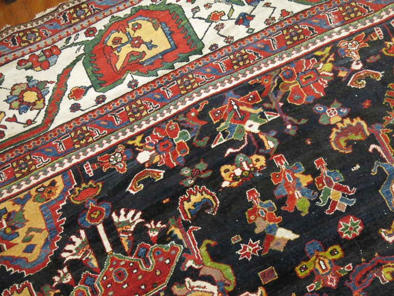 Wool Palace Size Antique Senneh Bakhtiari Rug For Sale